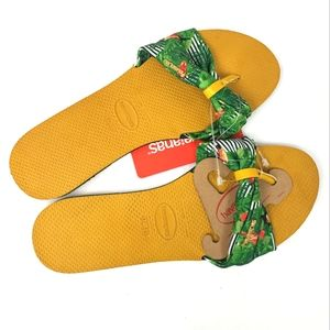 Havaianas Green and Yellow Tropical Sandals